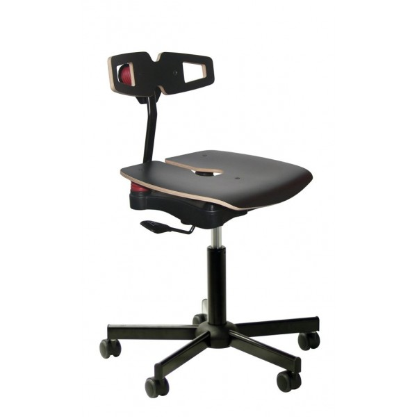 ergonomic chair with wooden seat